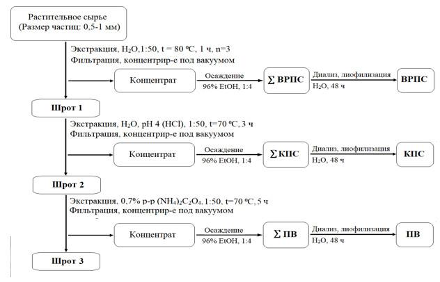 Схема выделения фракций полисахаридного комплекса